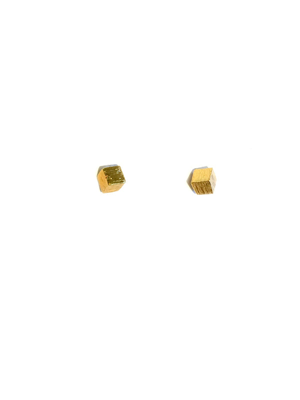 Golden Cube Posts | Sterling Silver Gold Studs Earrings | Light Years