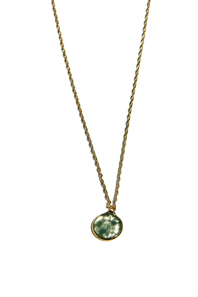 Moss Agate Disc Necklace, $26 | Gold Vermeil | Light Years Jewelry