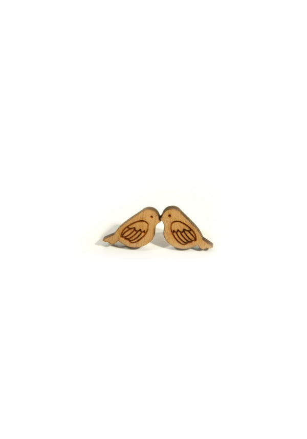 Wood Forest Friends Posts | Steel Stud Earrings Fox Bird | Light Years