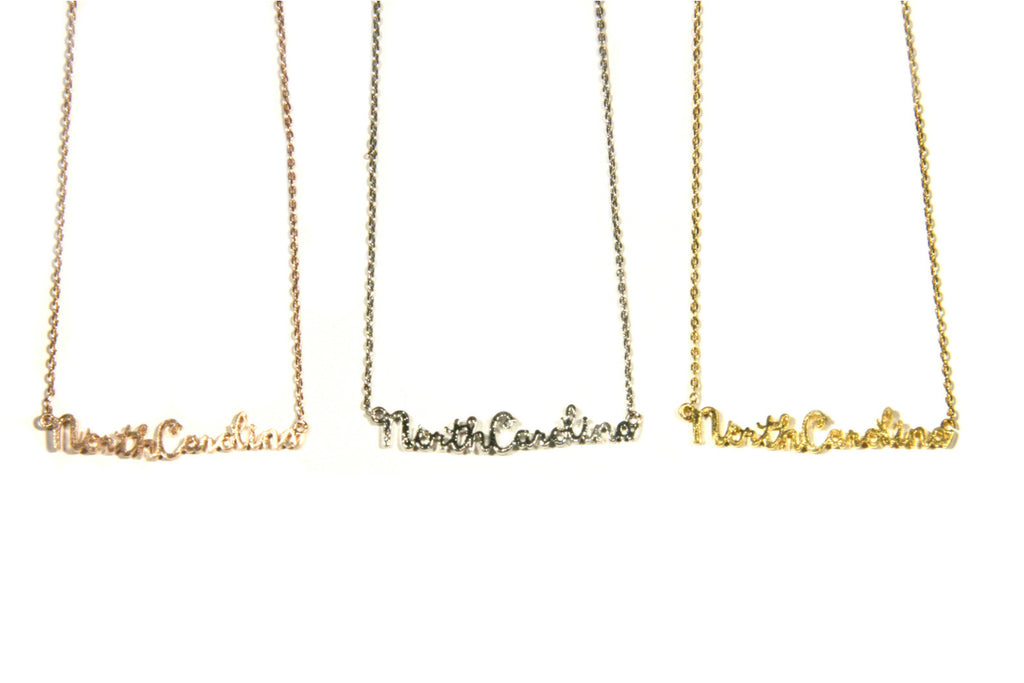 NC Script Necklace, $12 | Silver, Gold, Rose Gold | Light Years Jewelry