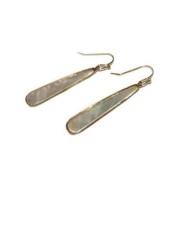 Mother of Pearl Teardrop Dangles | Gold Shell Earrings | Light Years