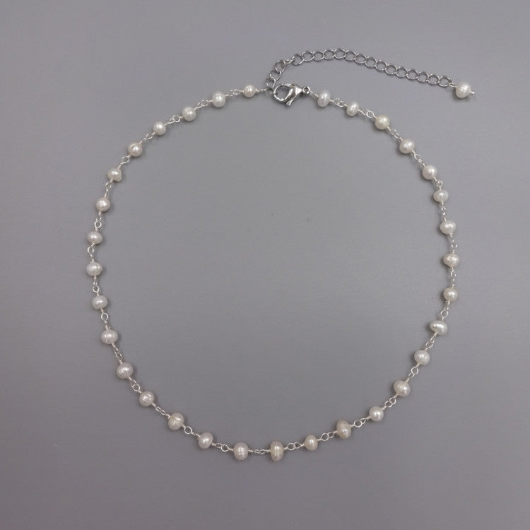 Freshwater Pearl Choker Necklace | Sterling Silver | Light Years Jewelry