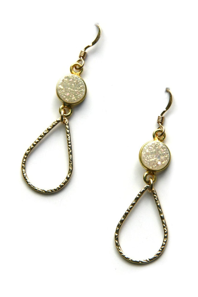 White Druzy Teardrop Earrings, $32 | Gold Filled Dangles | Light Years