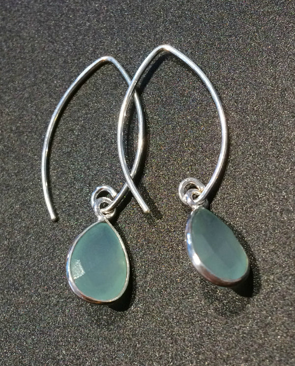 Chalcedony Teardrop Dangles | Sterling Silver Earrings | Light Years