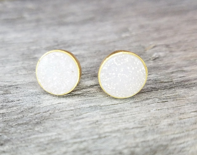 Round Druzy Stud Earrings | White, Black, Copper Vermeil | Light Years