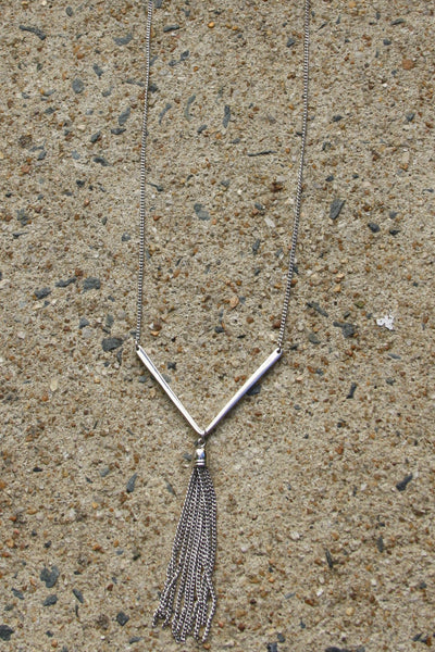 Chevron & Tassel Necklace, $12 | Silver Plated | Light Years Jewelry