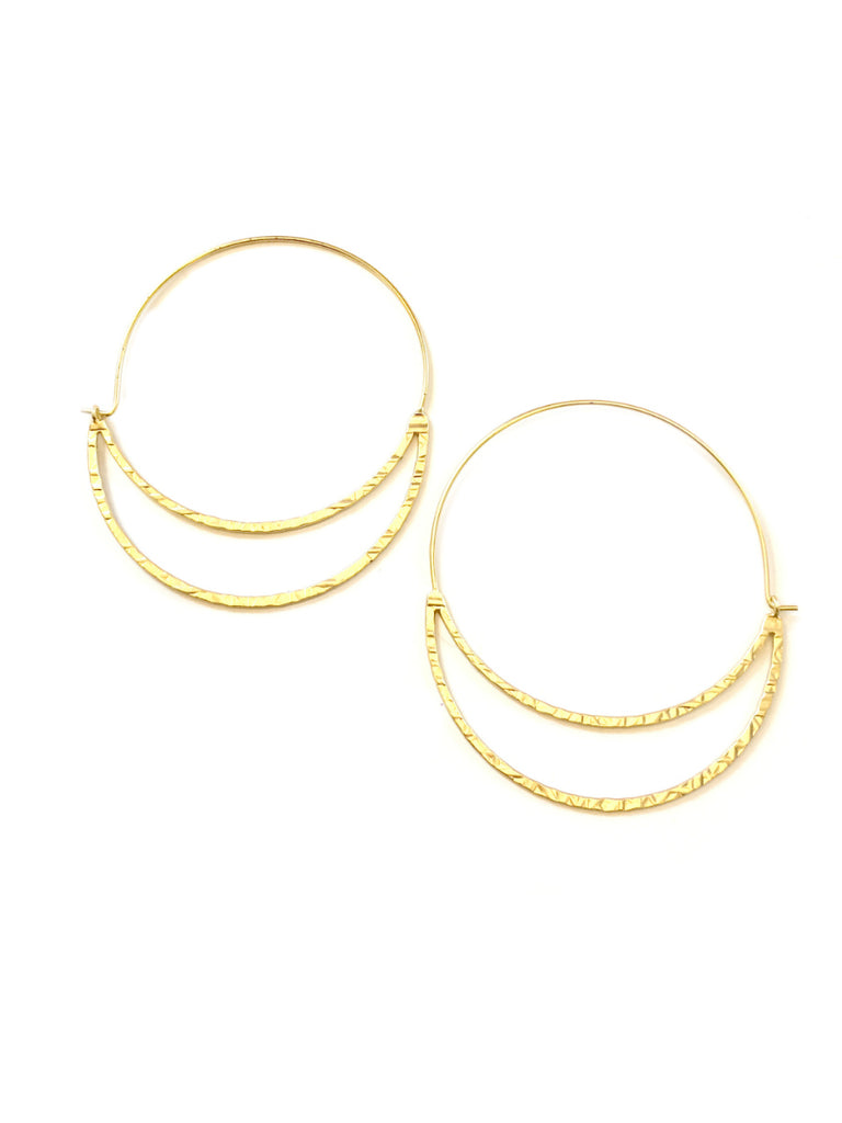 Hammered Crescent Statement Hoops | Gold Plated Earrings | Light Years