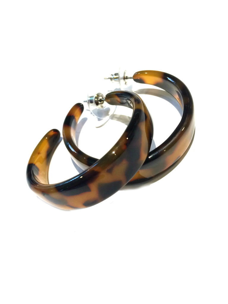 Wide Tortoiseshell Hoops | Steel Posts Earrings | Light Years Jewelry