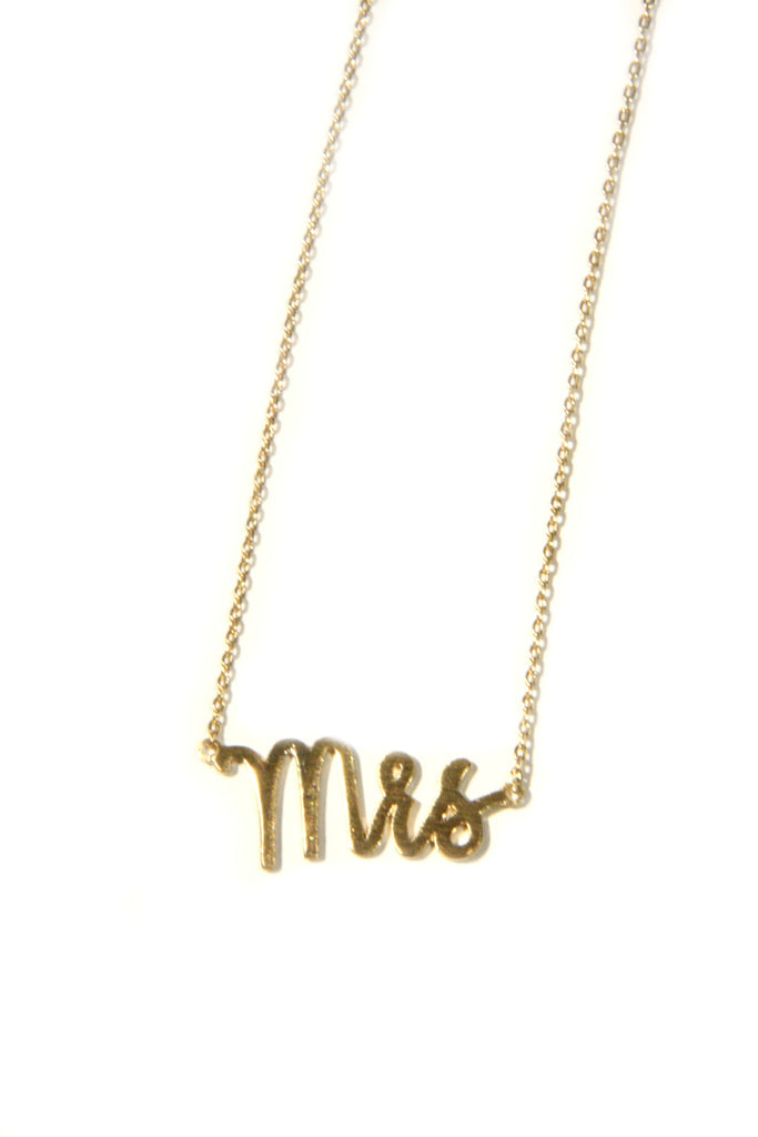 """Mrs"" Script Necklace 