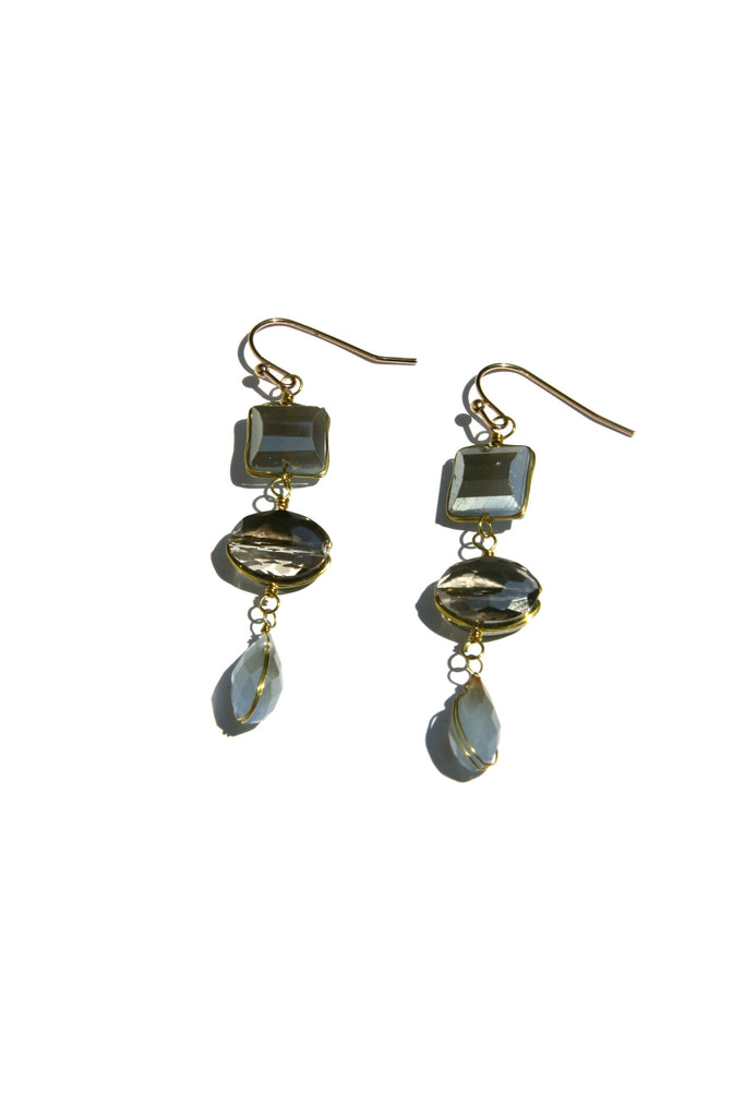 Triple Crystal Dangles, $9 | Gray Fashion Earrings | Light Years Jewelry