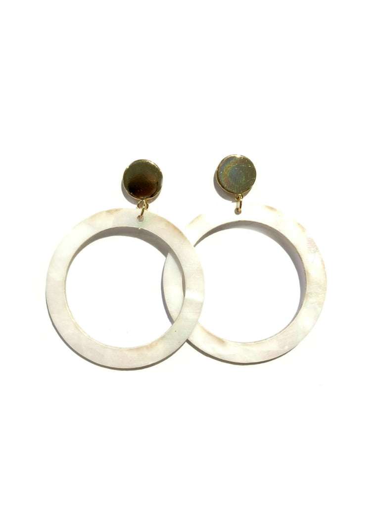 Mother of Pearl Ring Earrings