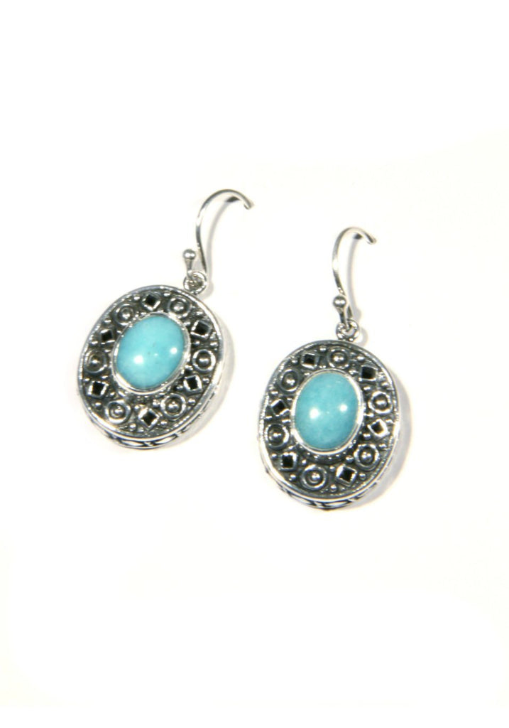 Decorative Amazonite Dangles | Sterling Silver Bali | Light Years