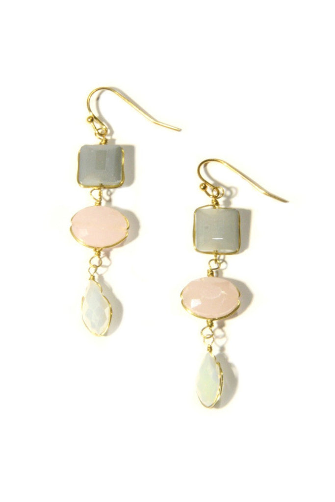 Triple Crystal Dangles, $9 | Pink & Gray Fashion Earrings | Light Years Jewelry