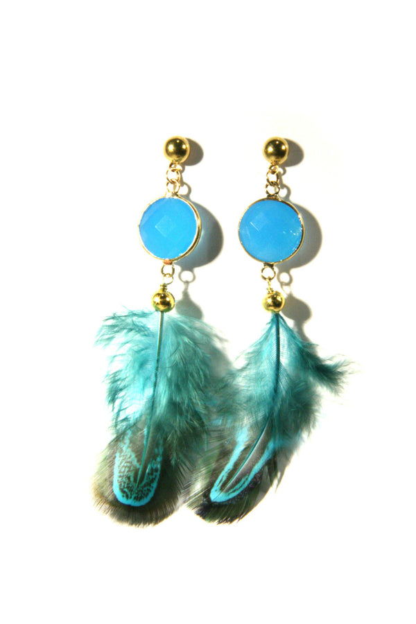 Blue Crystal & Feathers Earrings, $12 | Light Years Jewelry