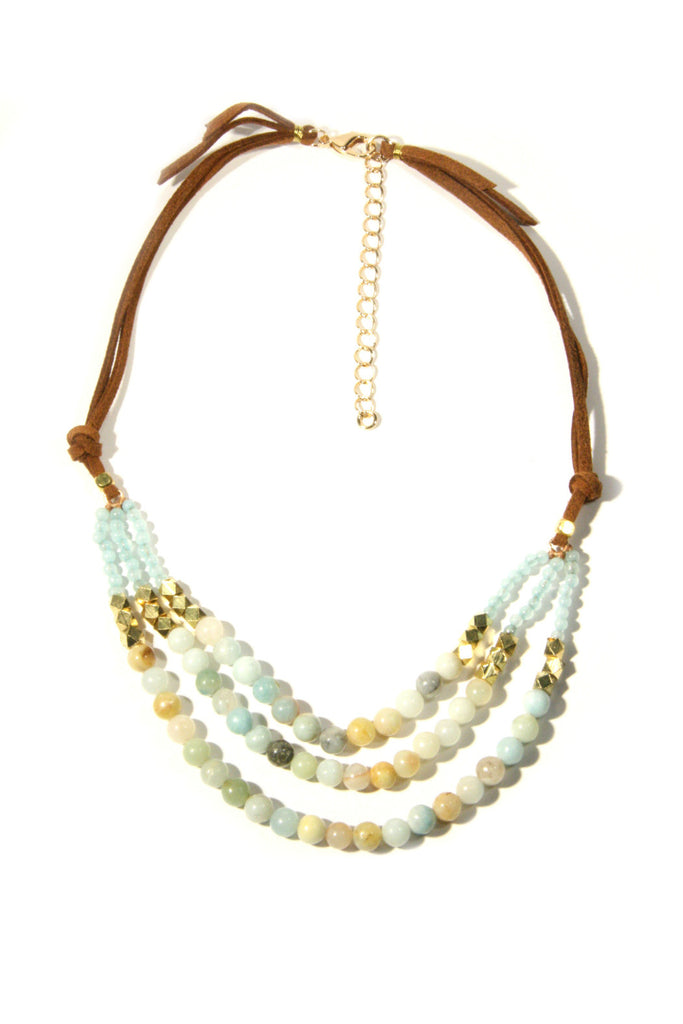 Amazonite & Suede Necklace, $19 | Genuine Stones | Light Years Jewelry
