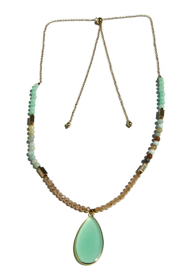 Stone & Crystal Long Beaded Necklace, $18 | Pink or Blue | Light Years