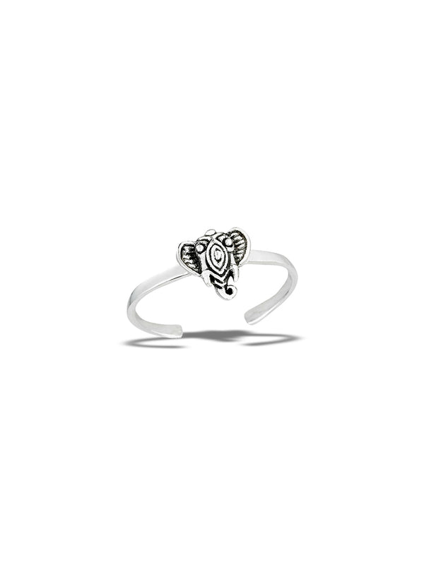Elephant Face Toe Ring | Sterling Silver | Light Years Jewelry
