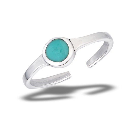 Turquoise Dot Toe Ring | Sterling Silver Band | Light Years Jewelry