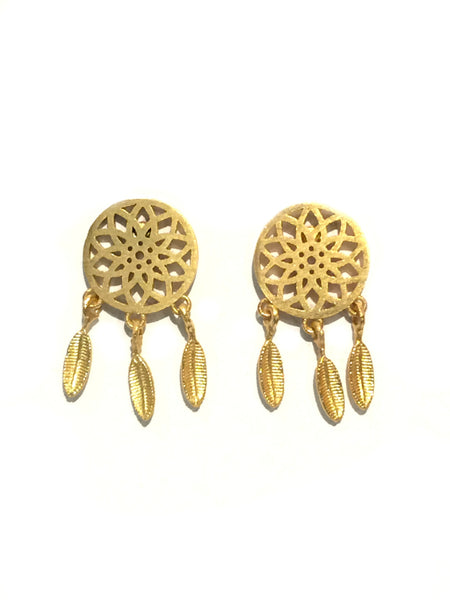 Dreamcatcher Posts | Gold Plated Stud Earrings | Light Years Jewelry