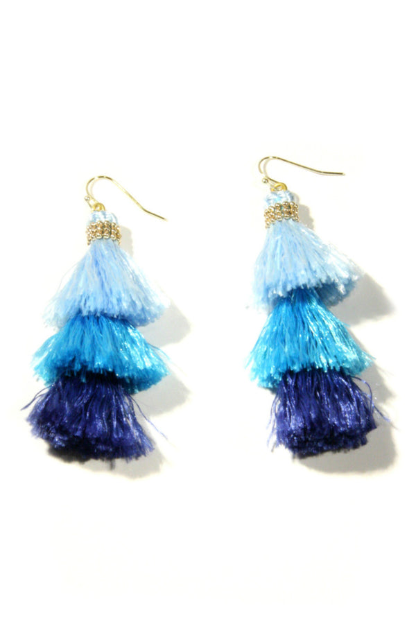 Shades of Blue Tassel Earrings, $14 | Light Years Jewelry