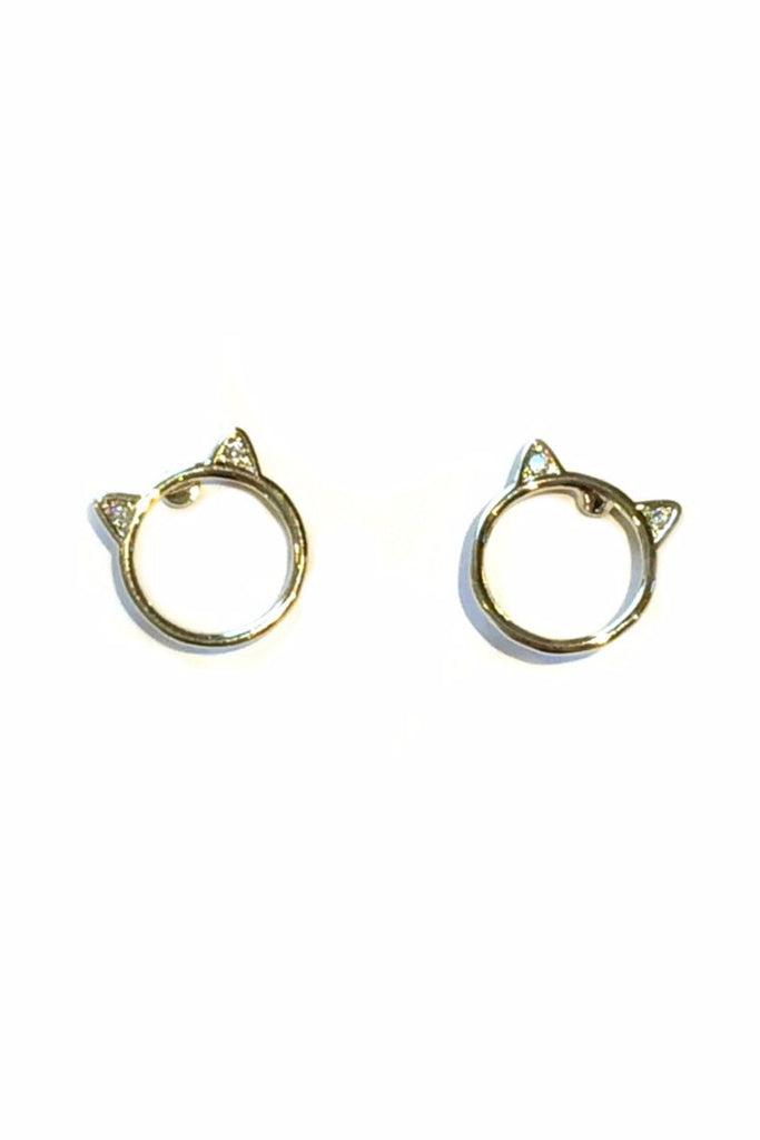 CZ Cat Ear Posts, $9 | Cute Kitty Earrings | Light Years Jewelry