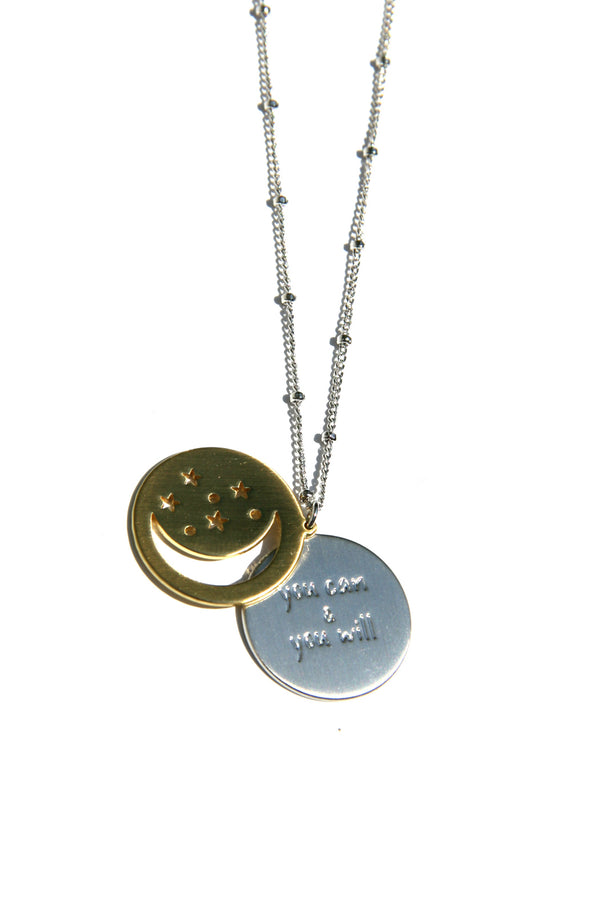 2-Piece Disc Necklace, $28 | Gold and Silver | Light Years Jewelry