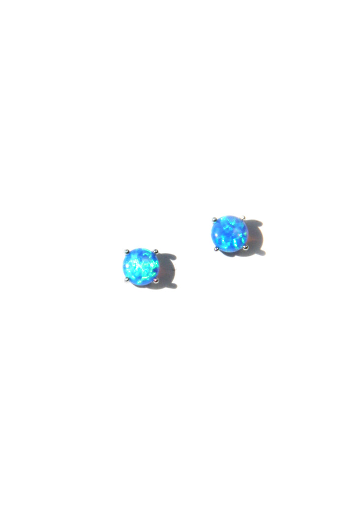 Blue Opal Posts | Sterling Silver Stud Earrings | Light Years Jewelry