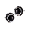Round Stone Posts with Border, $11 | Sterling Silver Studs and Black Onyx | Light Years Jewelry