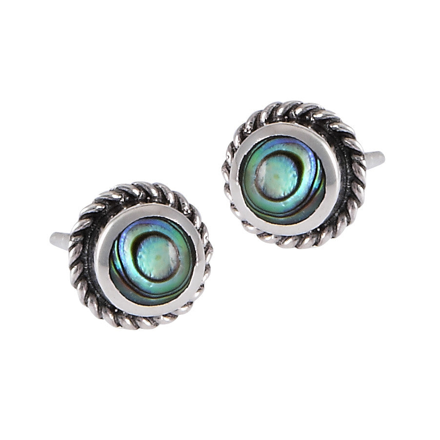 Round Abalone Border Posts | Sterling Silver Studs Earrings | Light Years