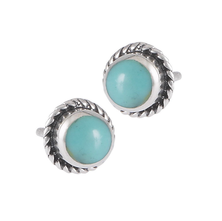 Round Turquoise Border Posts | Sterling Silver Studs Earrings | Light Years