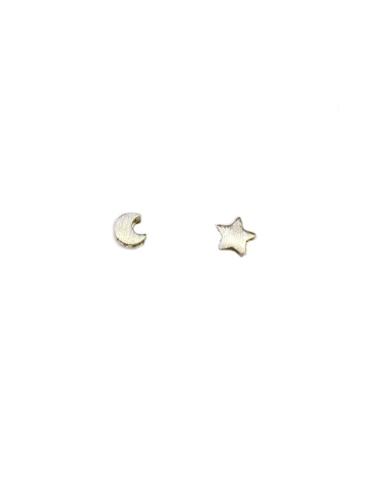 Brushed Moon & Star Studs | Gold or Silver Plated | Light Years Jewelry