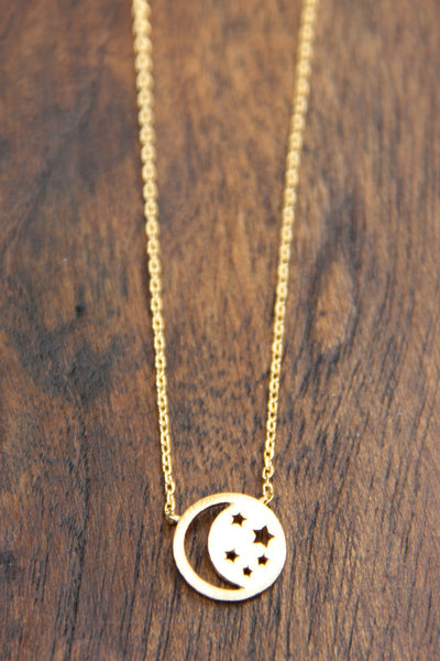 Cutout Moon & Star Necklace, $10 | Fashion Choker | Light Years Jewelry