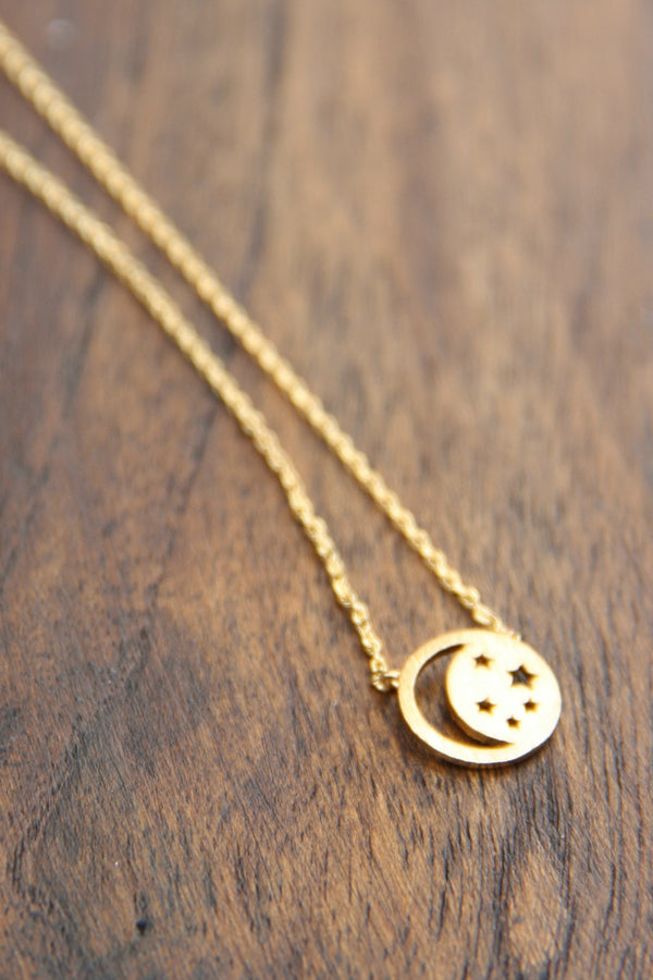 Cutout Moon & Star Necklace | Fashion Choker | Light Years Jewelry