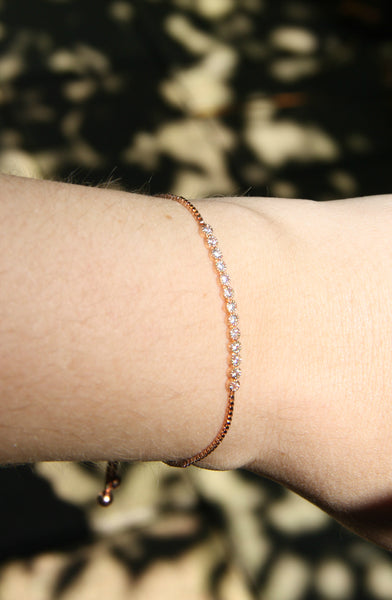 CZ Bar Pull Bracelet, $12 | Rose Gold Plated | Light Years Jewelry