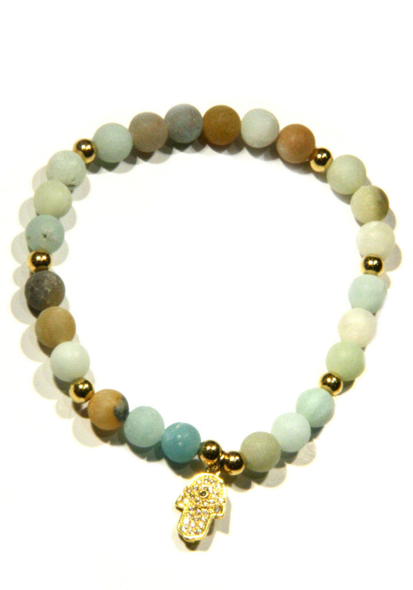 Amazonite Hamsa Bracelet, $12 | Gold Plated Stone | Light Years Jewelry
