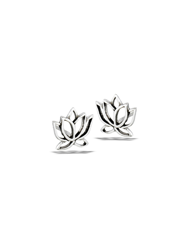 Lotus Outline Posts | Sterling Silver Studs Earrings | Light Years