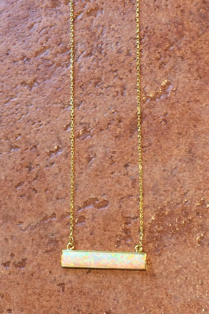 White Opal Bar Necklace, $32 | Gold Plated | Light Years Jewelry
