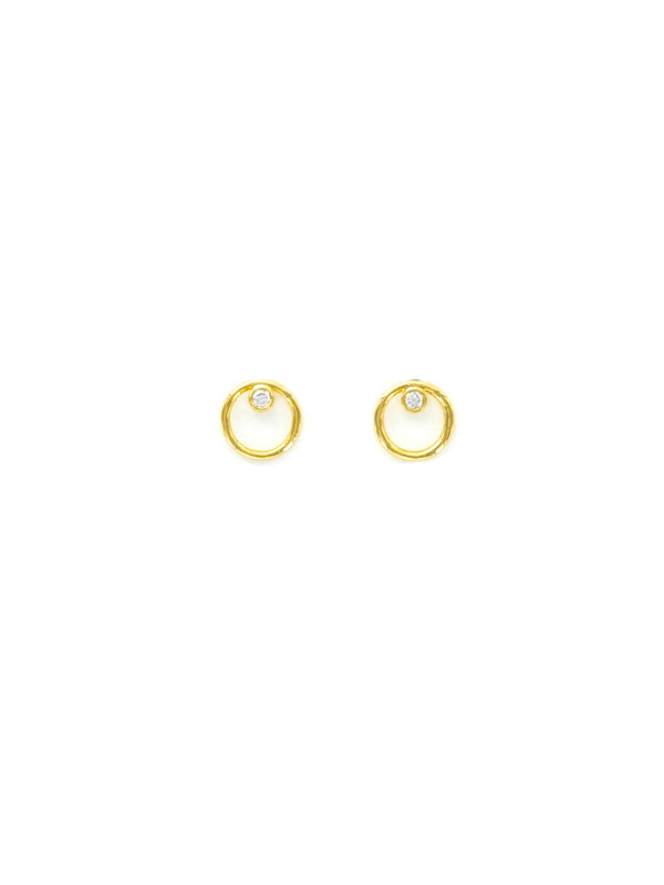 CZ in Ring Posts | Gold Plated Studs Earrings | Light Years Jewelry