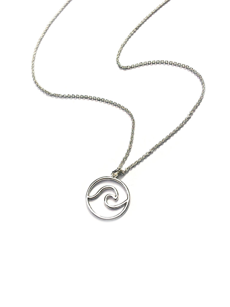 Wave Pendant Necklace | Silver Plated Brass | Light Years Jewelry