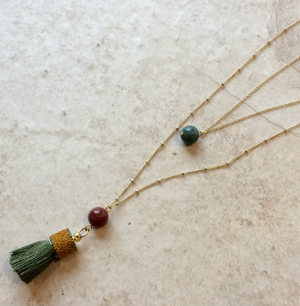 Tassel & Stone Gold Layered Necklace | Green Agate | Light Years Jewelry