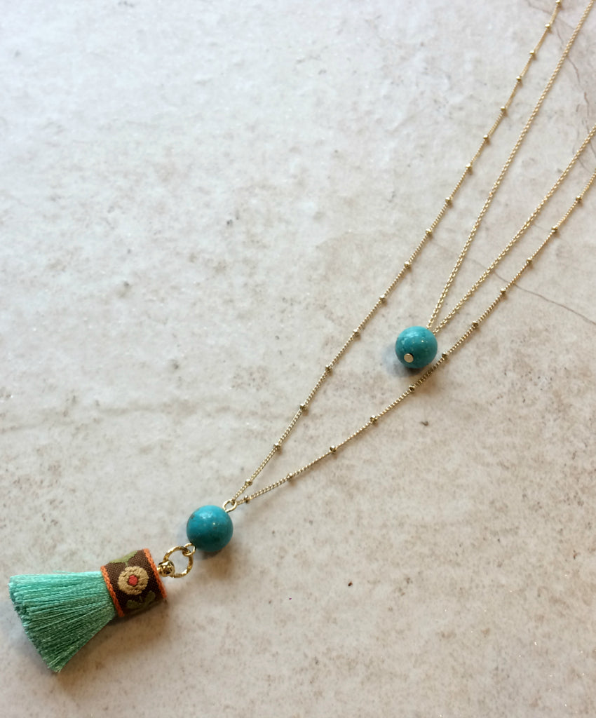Tassel & Stone Gold Layered Necklace | Turquoise | Light Years Jewelry
