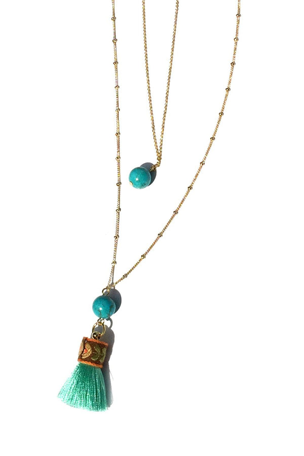Tassel & Stone Gold Layered Necklace, $16 | Light Years Jewelry
