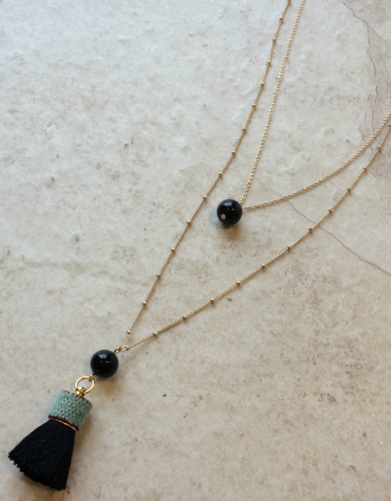 Tassel & Stone Gold Layered Necklace | Onyx | Light Years Jewelry