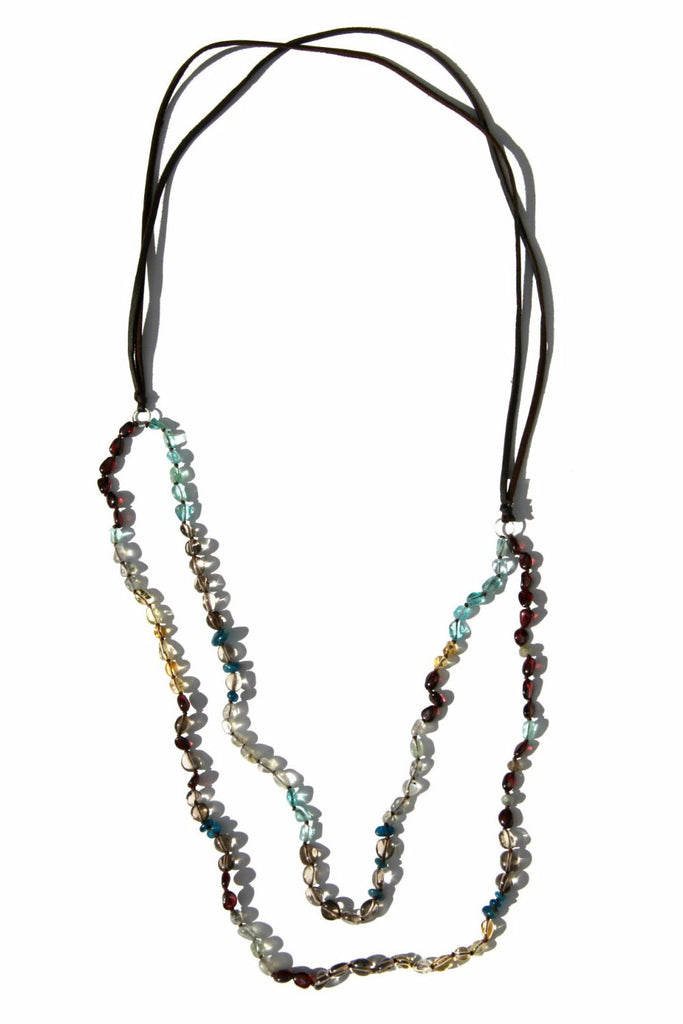Multistone Leather Necklace, $36 | Garnet, Citrine | Light Years Jewelry