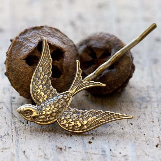 Brass Swallow Hair Pin, $9 | Light Years Jewelry