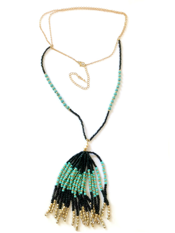 Beaded Tassel Necklace | Turquoise Fashion | Light Years Jewelry