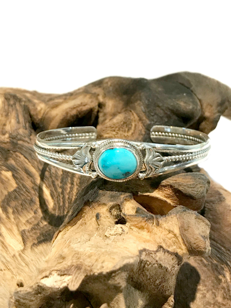 Oval Turquoise Cuff Bracelet | Sterling Silver Navajo | Light Years