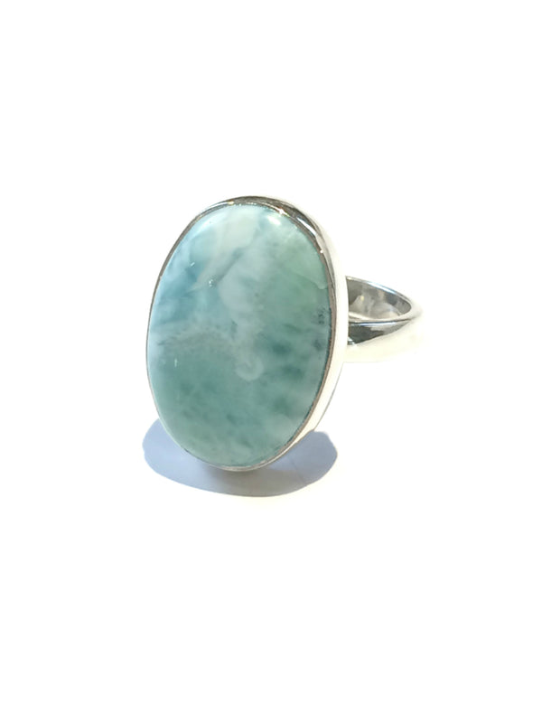 Larimar Cabochon Ring | Sterling Silver 5 6 7 8 9 10 | Light Years