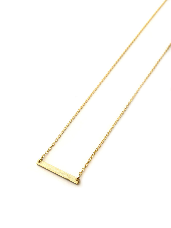 Brushed Bar Necklace | Gold Vermeil Sterling Silver Chain | Light Years
