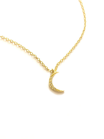 CZ Crescent Moon Necklace | Sterling Silver Gold Vermeil | Light Years